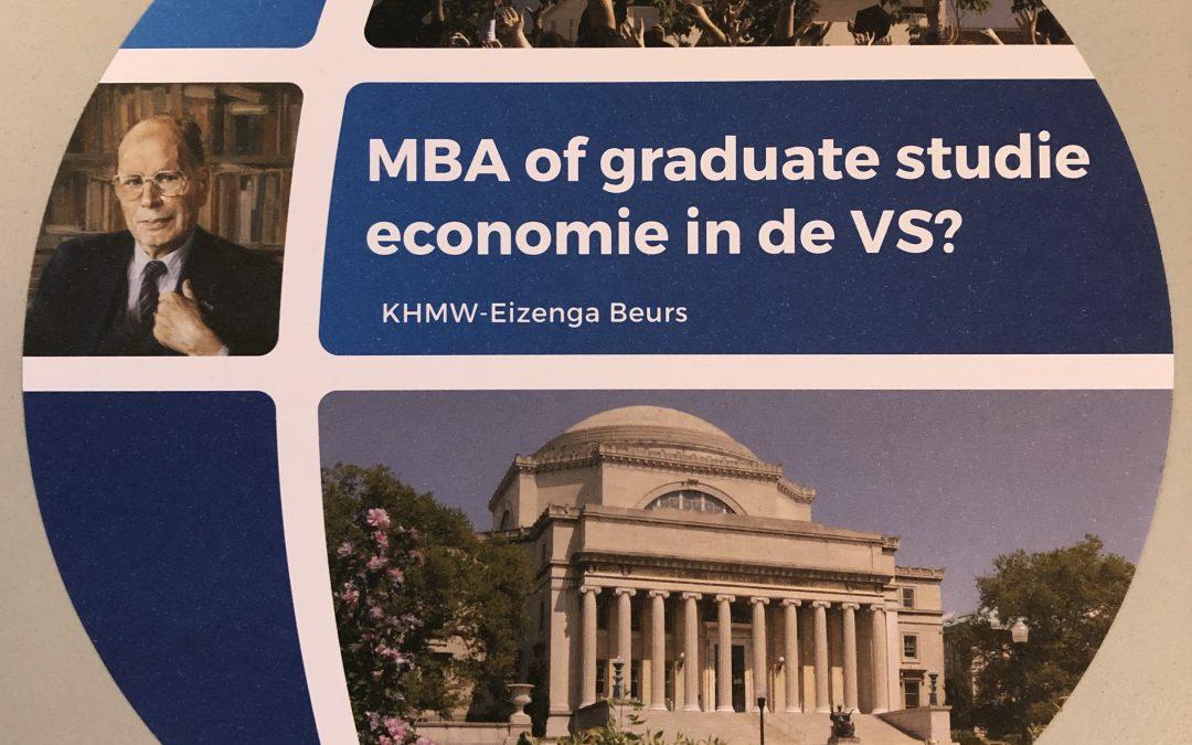 MBA of graduate studie in de VS? Vraag een KHMW/Eizenga beurs van USD 50.000 aan