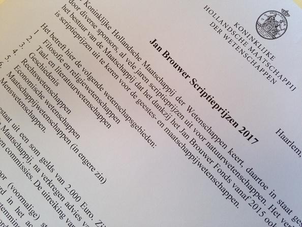 Jan Brouwer Scriptieprijzen 2017